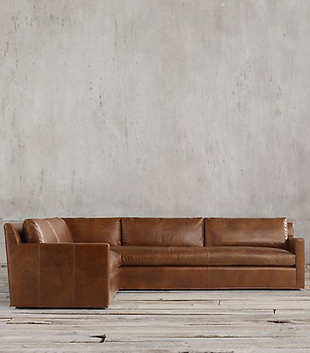 Restoration Hardware Belgian Track-Arm Leather L-Sectional