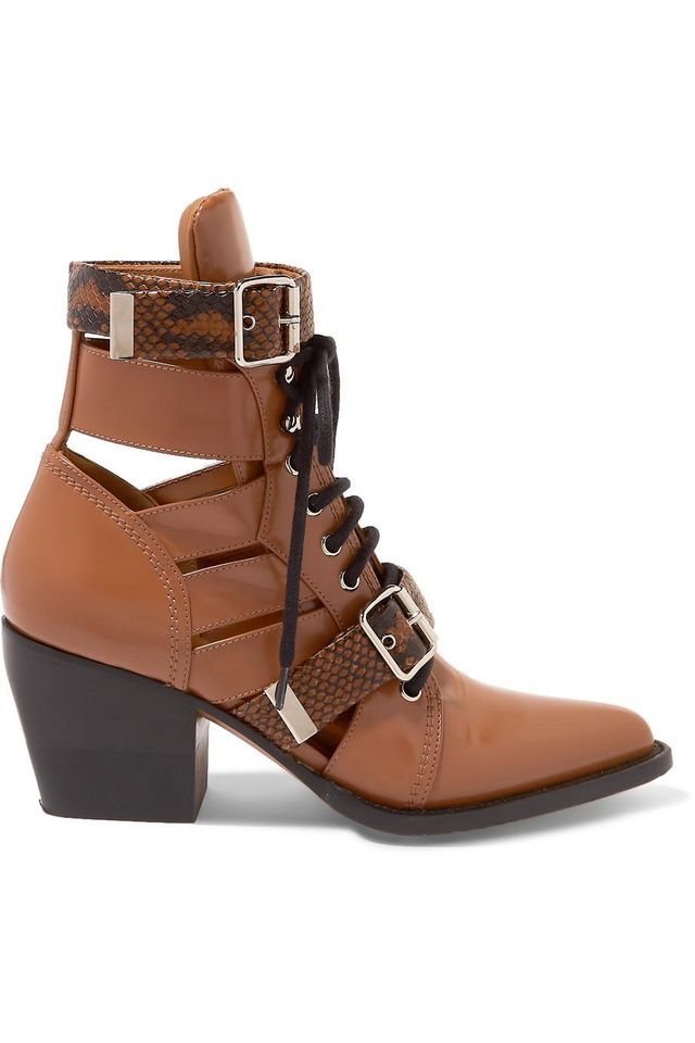 Chloé Rylee Cutout Snake Effect-Trimmed Leather Ankle Boots