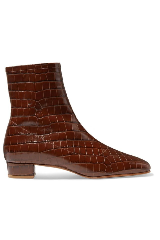 By Far Este Croc-Effect Leather Ankle Boots