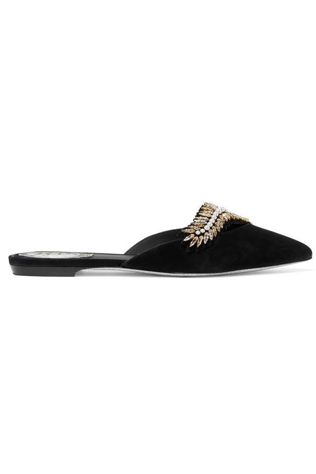 Rene Caovilla Embellished Suede Slippers