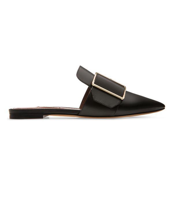 Bally Hamelin Plain Calf Leather Flat Mules in Black