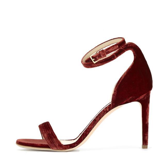 Chloe Gosselin Velvet Narcissus Shoes in Rust Red