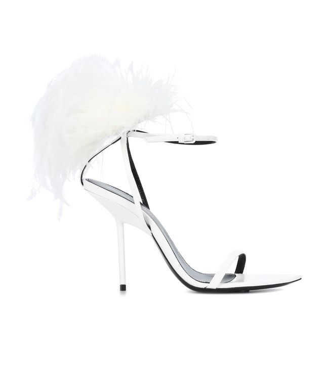 Saint Laurent Inez Feather-Trimmed Leather Sandals