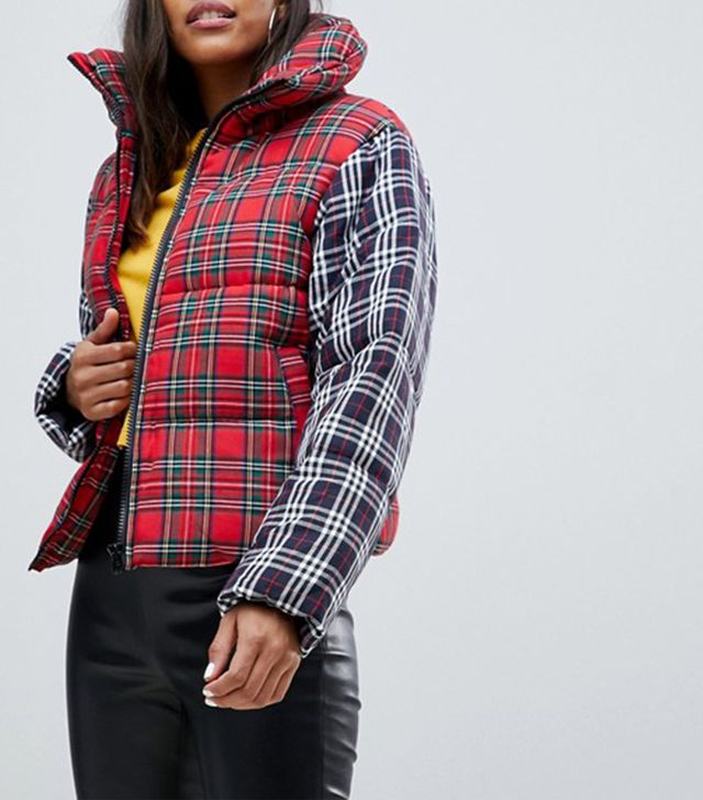 ASOS Plaid Oversized Neck Padded Jacket