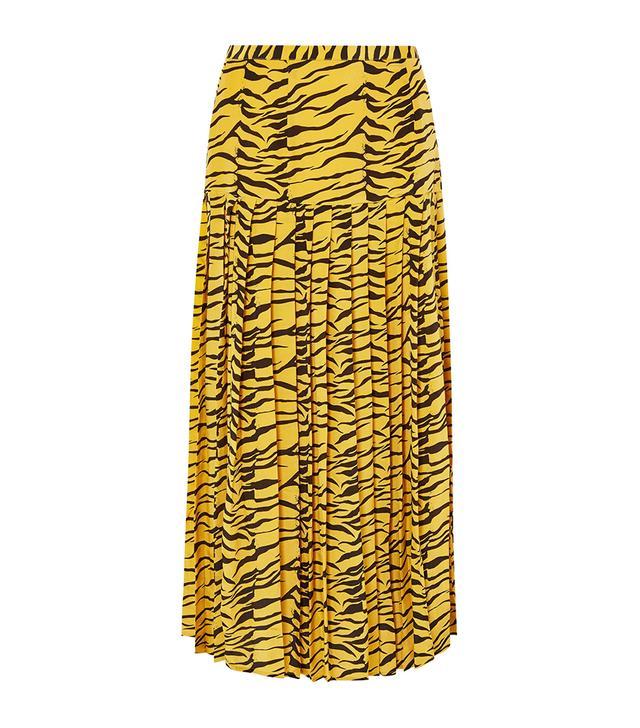 Rixo Tina Pleated Tiger-Print Silk Crepe de Chine Skirt