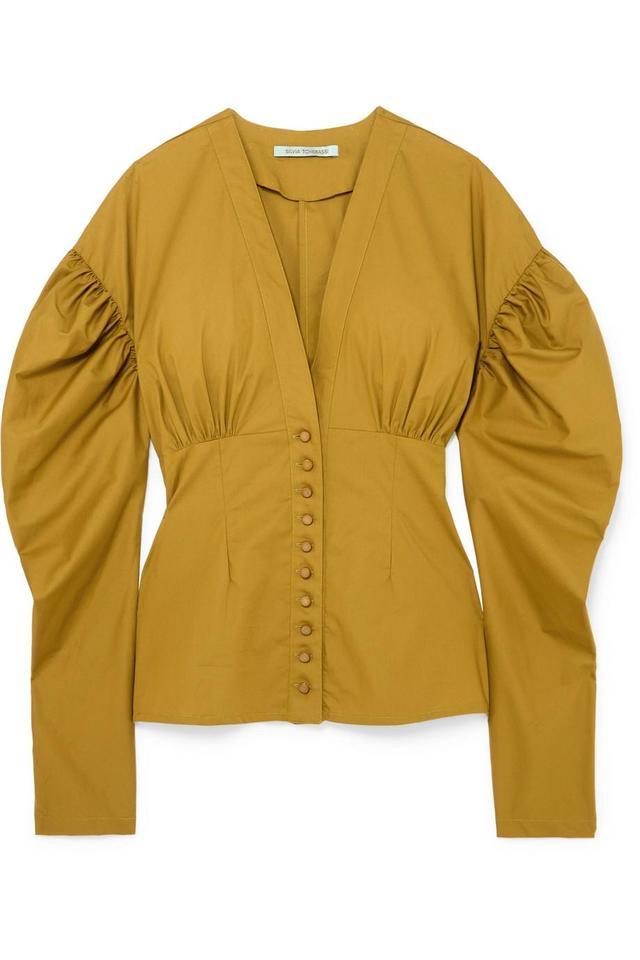 Silvia Tcherassi Stella Gathered Cotton Top
