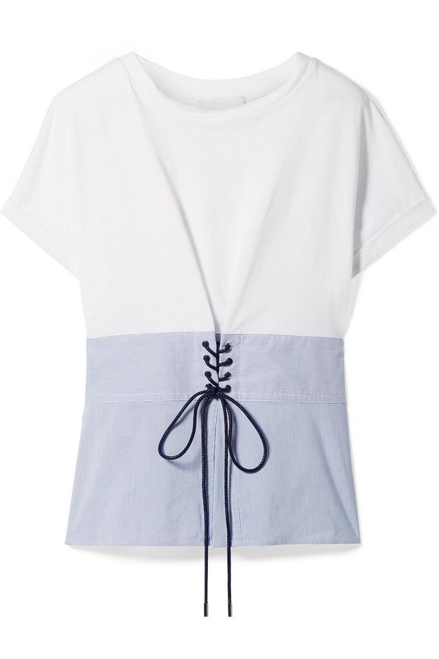 3.1 Phillip Lim Lace-Up Cotton-Jersey and Striped Poplin Top