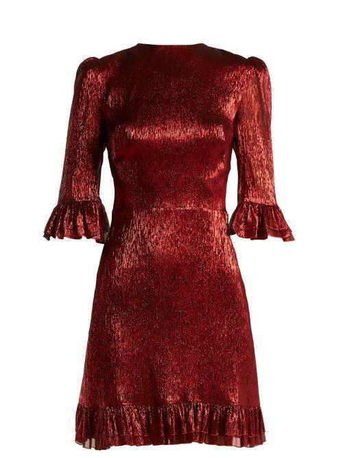 The Vampire's Wife Festival Ruffle Trimmed Silk Blend Lamé Mini Dress