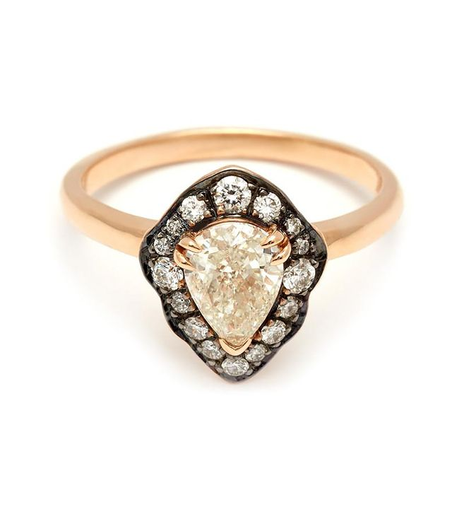 Anna Sheffield Camellia Petal Yellow Gold & White Diamond Ring