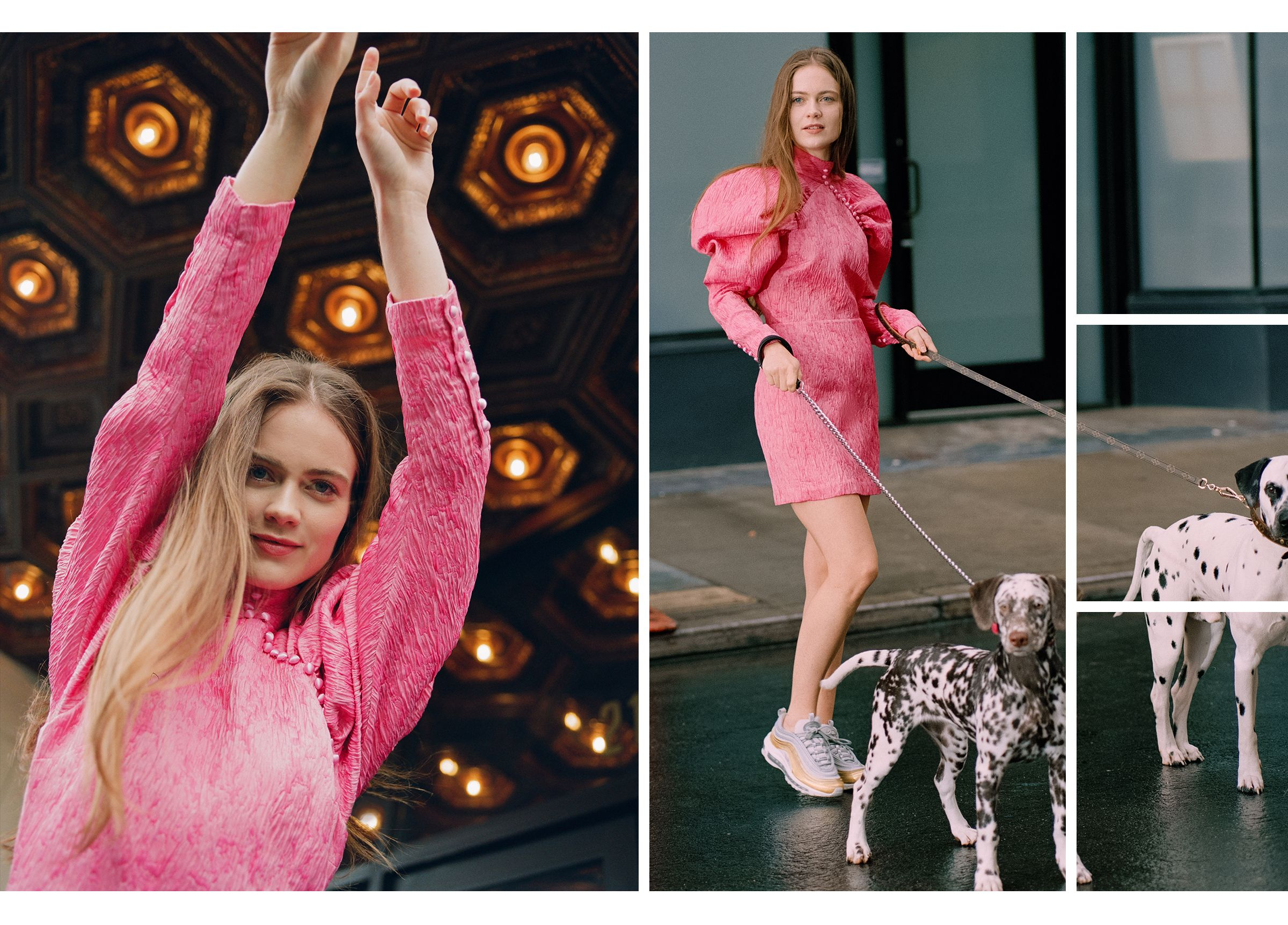 Hera Hilmar wearing pink jacquard dress by Rotate and Nike sneakers.