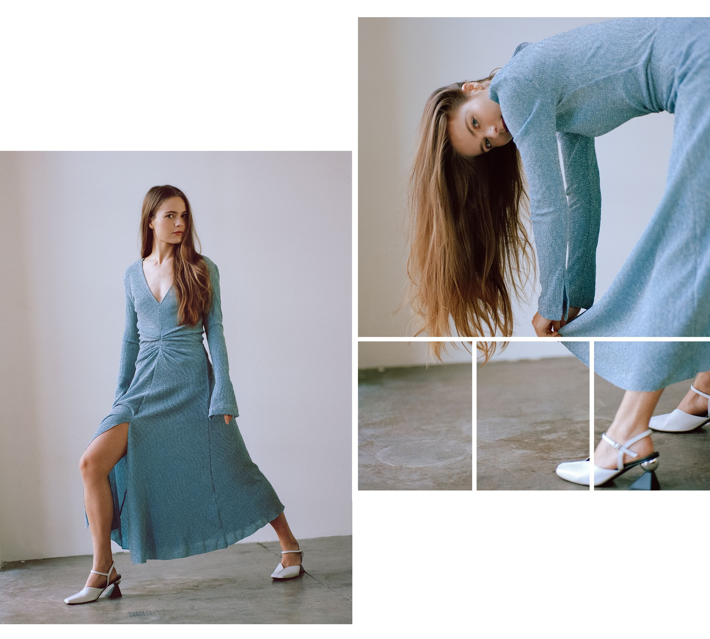 Hera Hilmar in metallic blue dress by Rotate and Yuul Yie heels.