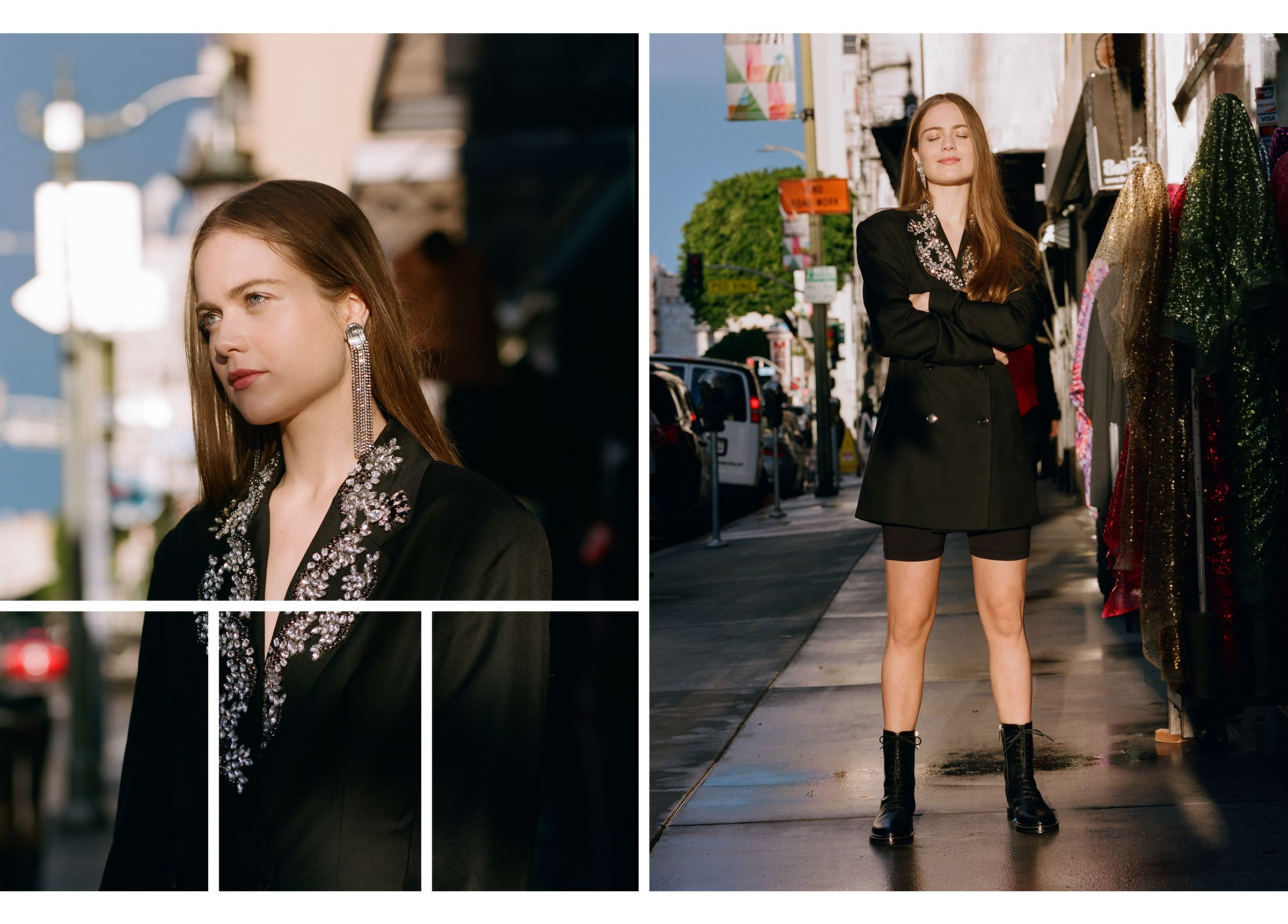 Hera Hilmar in embellished blazer dress by Rotate and The Row boots.