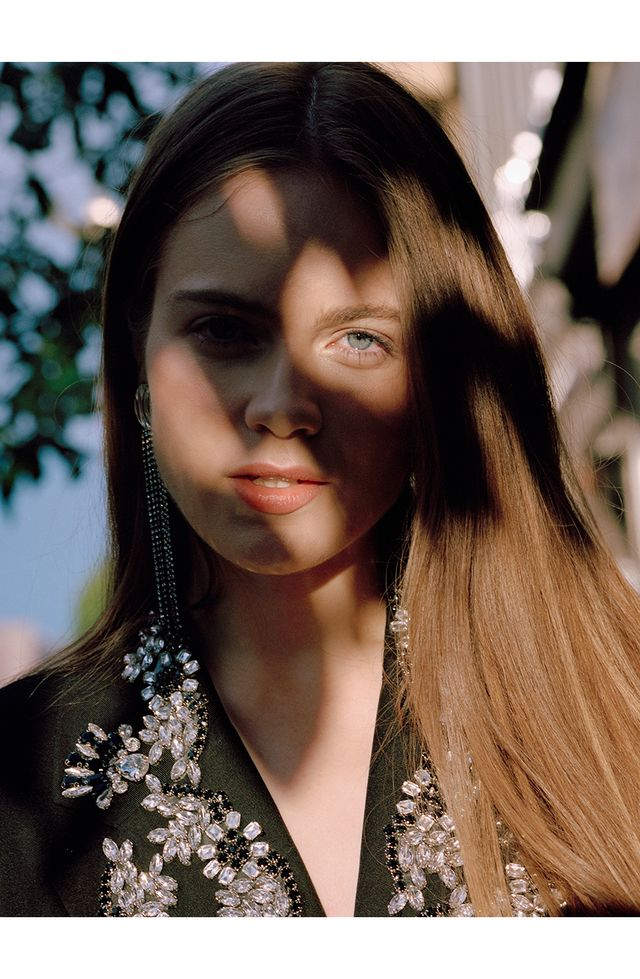 Actress Hera Hilmar in Celine earrings.