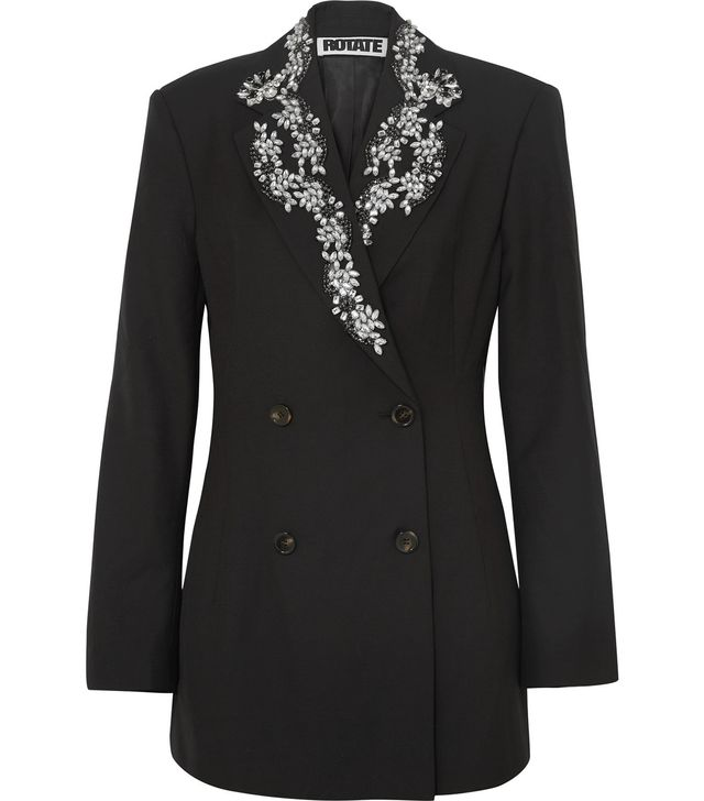 Rotate Crystal-Embellished Wool-Blend Gabardine Blazer