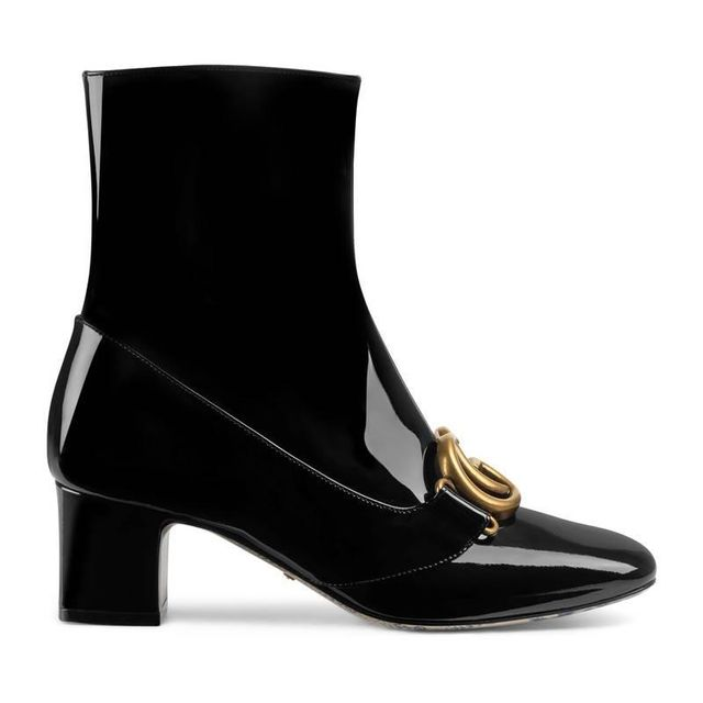 Gucci Patent Leather Ankle Boots With Double G