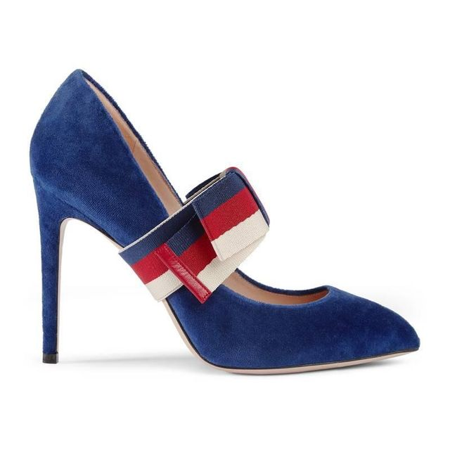 Gucci Velvet Pumps With Removable Sylvie Bow
