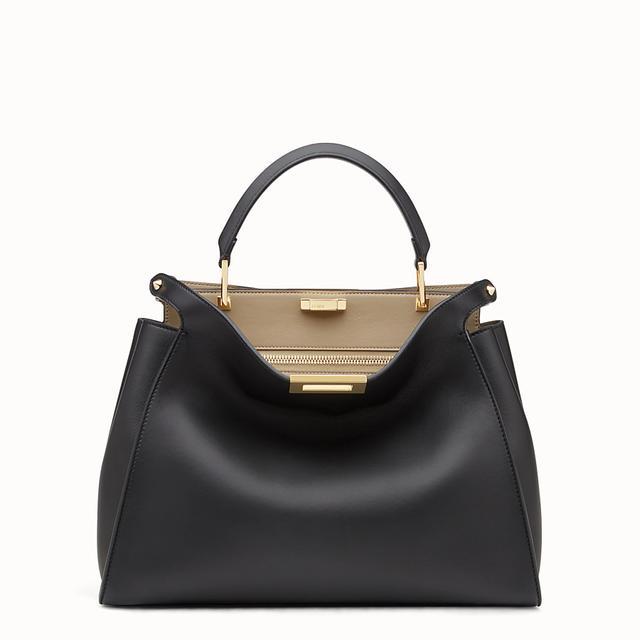 Fendi Peekaboo Essential Black and Beige Leather Handbag