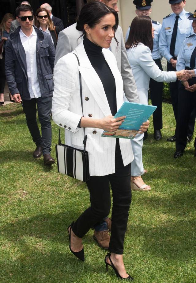 Meghan Markle White Blazer Black Jeans