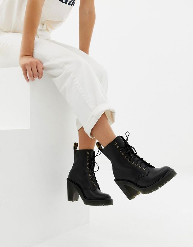 Dr. Martens Kendra Black Leather Heeled Ankle Boots