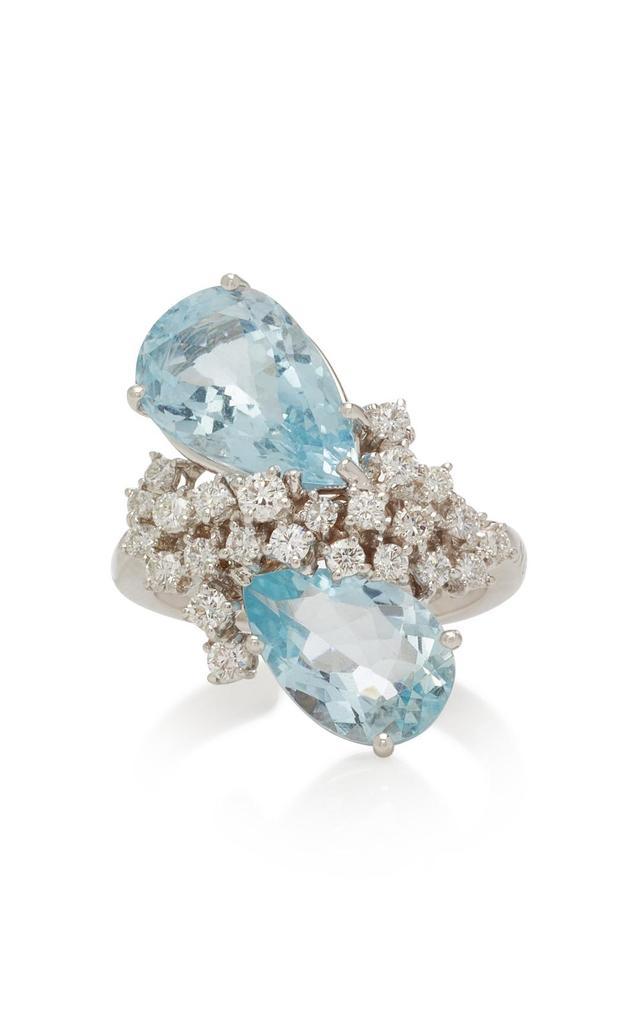 NOA Glacier 18K White Gold Aquamarine and Diamond Ring