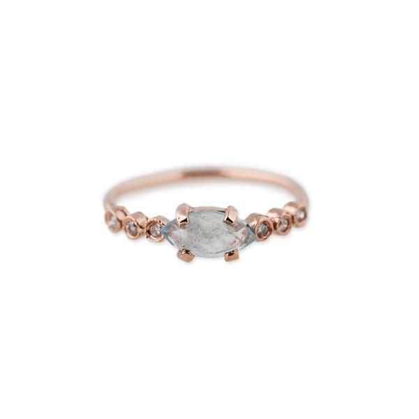 Jacquie Aiche 6 Diamond Aquamarine Marquise Ring