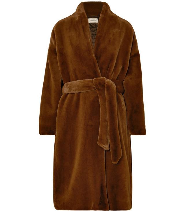 Totême Chelsea Belted Faux Fur Coat