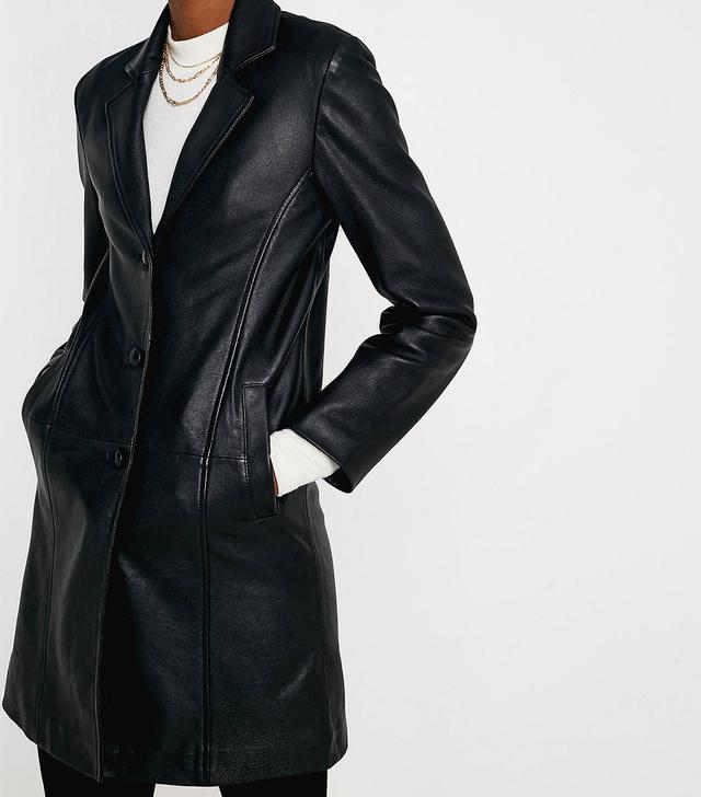 UO Premium Leather Mac Jacket