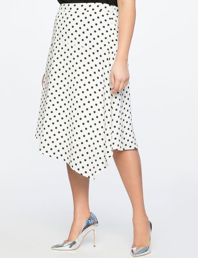 Eloquii Polka Dot Asymmetric Skirt