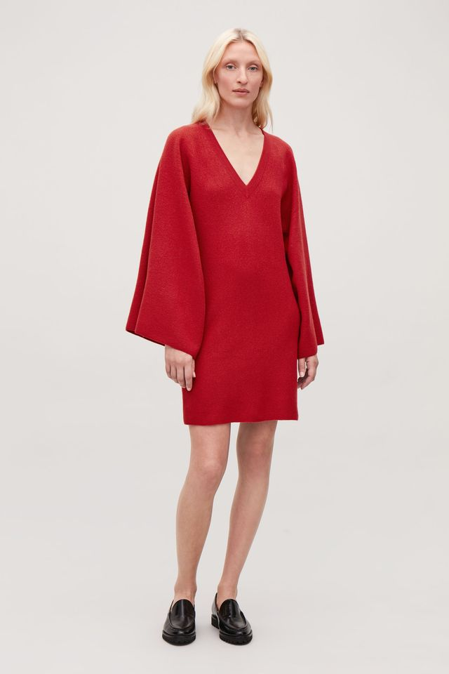 COS Cape-Sleeved Wool Knit Dress