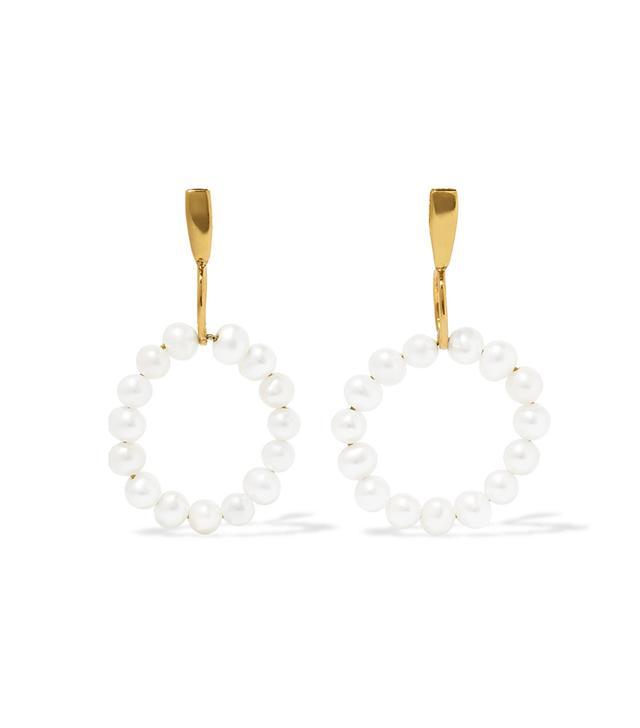 Natasha Schweitzer 14-Karat Gold-Plated Pearl Earrings