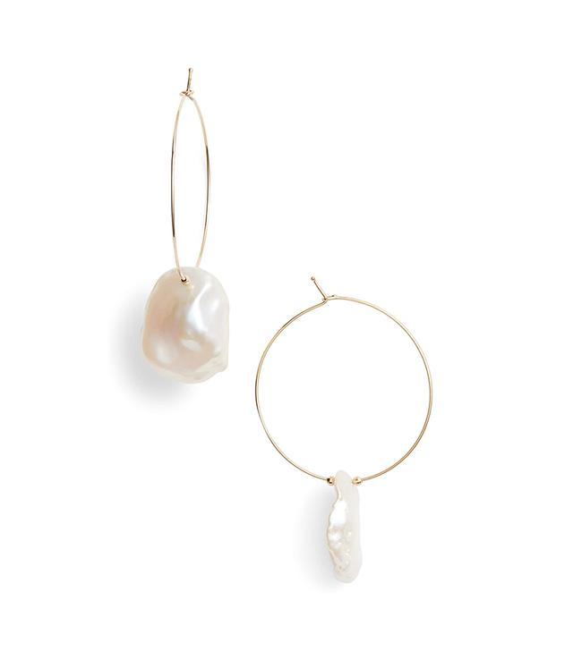 Mizuki Petal Pearl Hoop Earrings