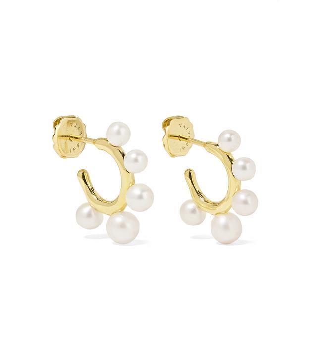 Ippolita Nova Teeny 18-Karat Gold Freshwater Pearl Hoop Earrings