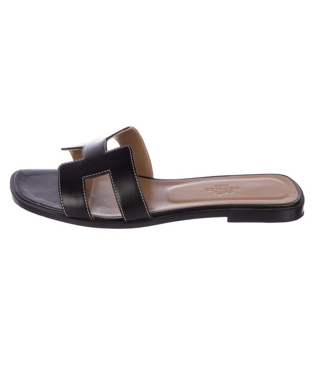 Hermès Oran Leather Slide Sandals