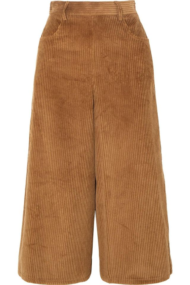 See by Chloé Cropped Cotton-Blend Corduroy Wide-Leg Pants