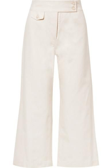 Veronica Beard Cayman Cropped Cotton-Canvas Wide-Leg Pants