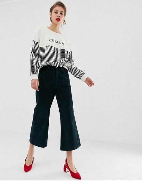 Warehouse Wide Leg Cropped Pants