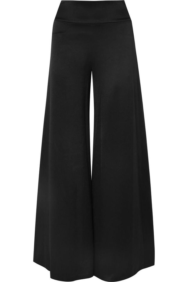 Alice and Olivia Iyanna Stretch-Satin Wide-Leg Pants