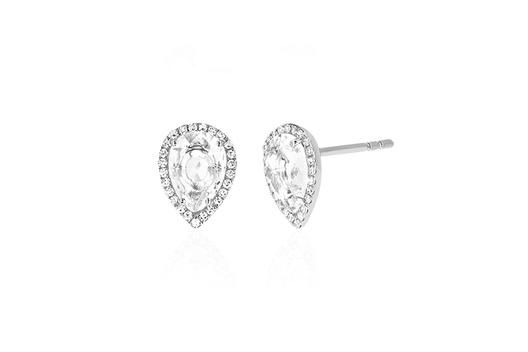 EF Collection Diamond White Topaz Stud Earring