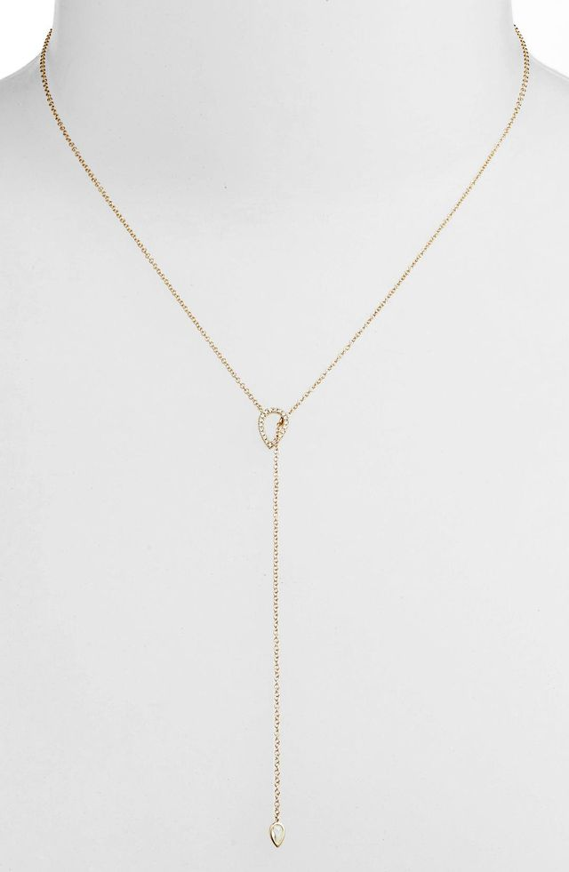 EF Collection Teardrop Diamond Lariat Necklace