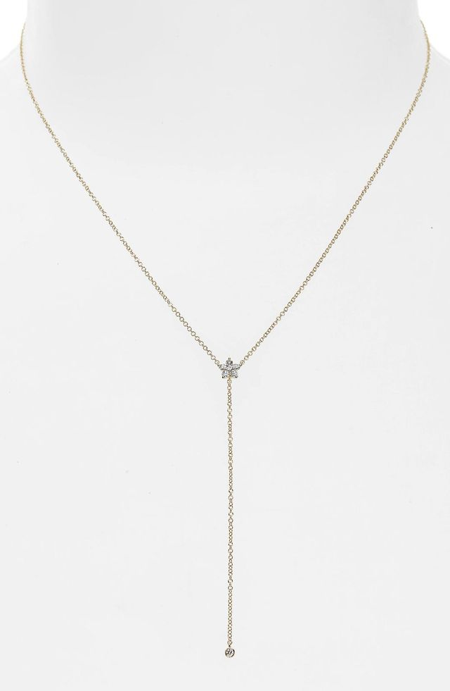 EF Collection Diamond Flower Lariat Necklace