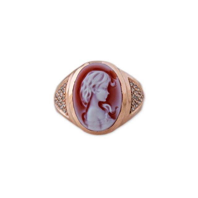 Jacquie Aiche Carved Agate Red Brooke Cameo Ring