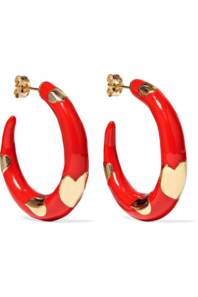 Alison Lou Amour 14-Karat Gold and Enamel Hoop Earrings