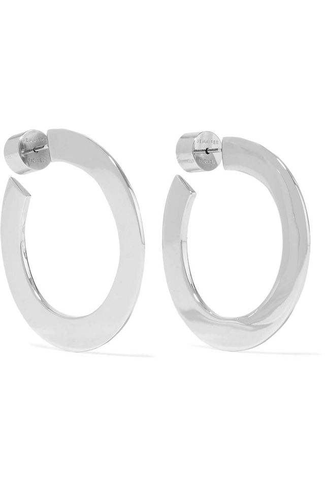 "Jennifer Fisher Mini Drew 1"" Silver-Plated Hoop Earrings"