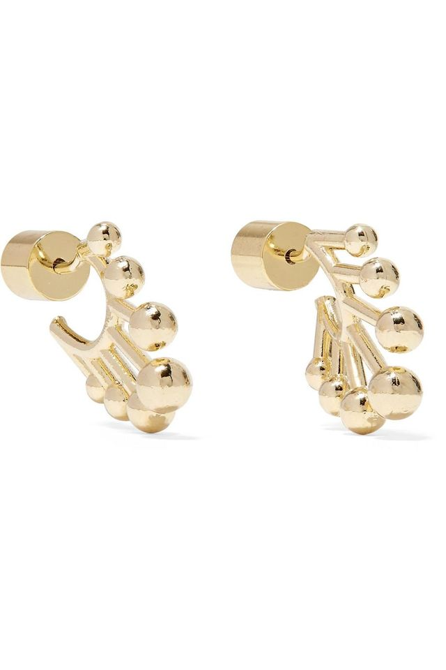 Jennifer Fisher Dna Huggie Gold-Plated Hoop Earrings