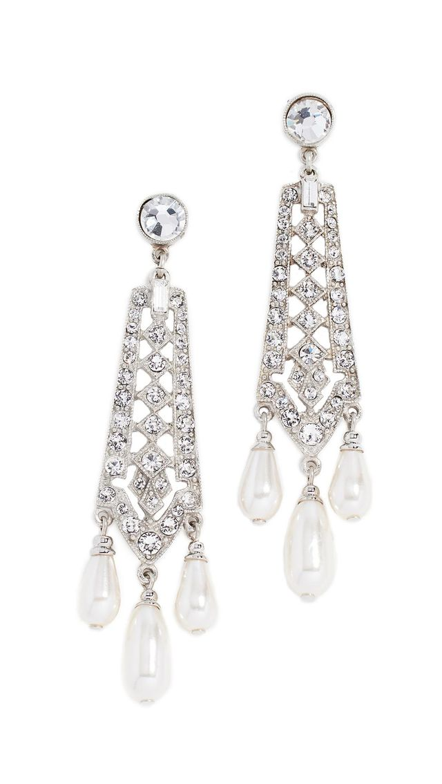 Ben-Amun Crystal and Imitation Pearl Drop Earrings