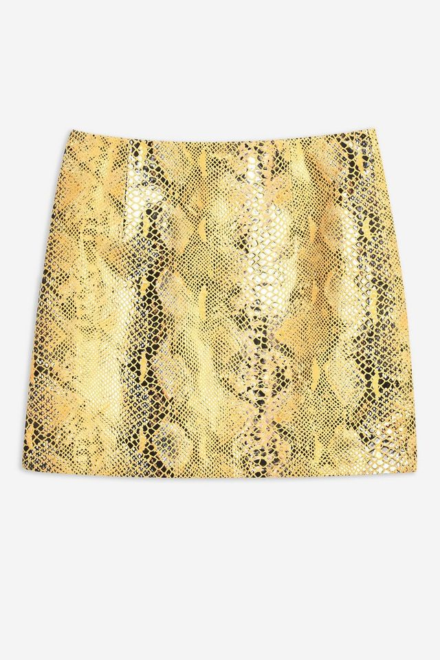 Topshop Snake Leather Mini Skirt