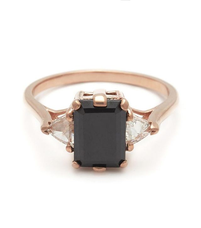 Anna Sheffield Black Diamond Bea Three Stone Ring