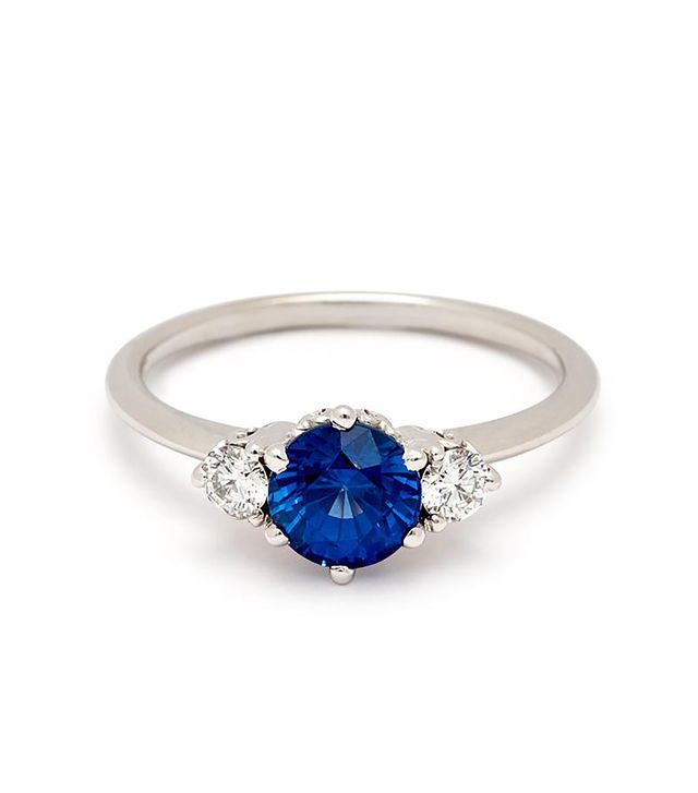 Anna Sheffield Hazeline Three-Stone Ring - White Gold & Blue Sapphire