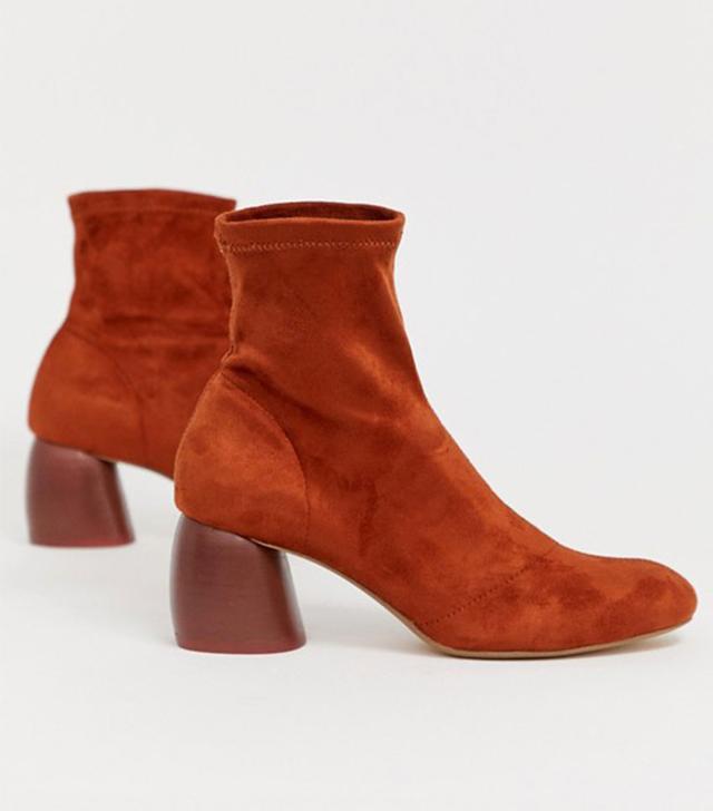 Bershka Faux Suede Sock Boots