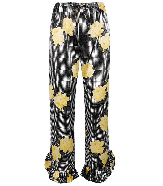 Ganni Ruffle-trimmed Printed Silk-Blend Straight-Leg Pants